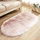 WJTHH Langflor Teppich Moderner Teppich Schlafzimmer Carpet Künstliche schaffell Teppich, oval Dickes langes Haar weichen großen Teppich Hellrosa 80 * 150 cm