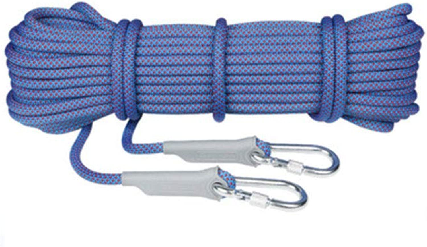 Q&Z Safety Rope 10,20,30M Outdoor Survival Climbing Rope High Strength Professional Rappelling Rope with 2 Carabiner for Fire Rescue Hiking Emergency Escape (8 10.5 12mm)