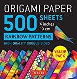 Origami Paper 500 sheets Rainbow Patterns 4' (10 cm): High-Quality Double-Sided Origami Sheets Printed with 12 Different Patterns