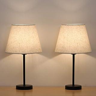 HAITRAL Lámpara de mesa, lámpara de noche, juego de 2 con lámpara de noche en pantalla de tela para dormitorio, salón, oficina, habitación de los niños, habitación de niñas, dormitorio