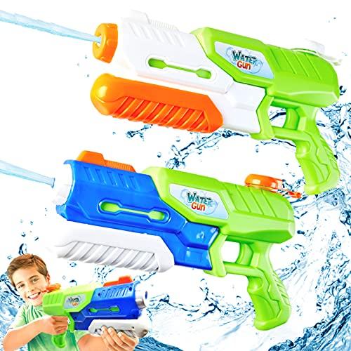 Paochocky Juguetes de Super Pistolas de Agua 1400ml Diversión Potente Chorro de Agua con Alcance de hasta 10m para Verano Piscina Al Aire Libre Jardin Fiesta Batalla de Agua para niños Adultos