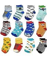 VINGI 12 Pairs Toddler Non Skid Socks with Grips Anti Slip Bottom, Cotton Non Slip Ankle Crew Socks for Boys, Girls, Kids(3-5Years), #4