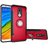 Xiaomi Redmi 5 Plus Case, Ranyi [2 Piece Ring Cover] [Adsorbed Iron Plate] [360 Rotating Metal Ring] Premium Hybrid Dual Layer 360 Full Body Protective 2 in 1 Case for Xiaomi Redmi 5 Plus (red)