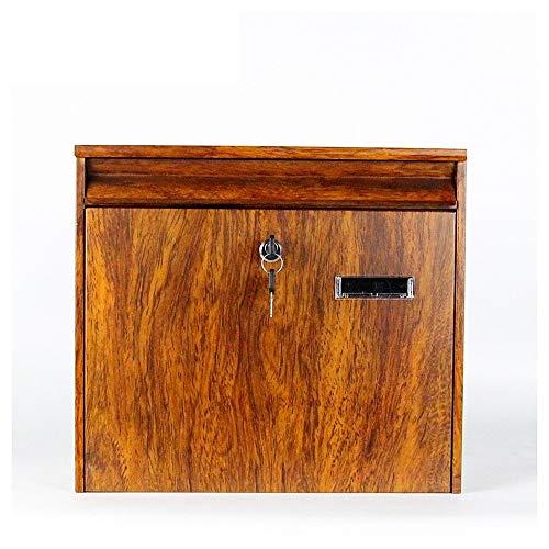 Xiao Jian brievenbus voor buiten, met brievenbussen Lock & Keys, gegalvaniseerd Sheet dikke wandhouder voor postbox, huis, locking, kantoor voor klassieke decoratie Bruin