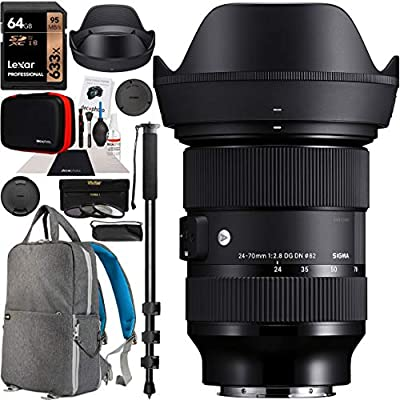 """Sigma 24-70mm F2.8 DG DN Art Zoom Lens for Leica L Mount Mirrorless Cameras Bundle with Deco Gear Camera & Lens Photography Backpack + 64GB Memory Card + Filter Kit + 72"""" Monopod and Accessories by SIGMA"""