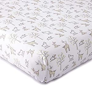 Levtex Baby – Skylar Crib Fitted Sheet – Fits Standard Crib and Toddler Mattress – Tossed Animals – Grey, Blush Pink, Taupe and White – Nursery Accessories – 100% Cotton