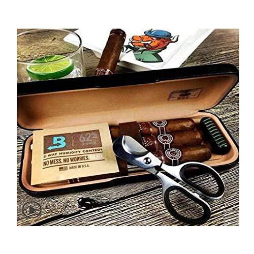 Zigarettenschachtel Zigarettenschachtel, tragbare Reise Zedernholz Cigar Box Befeuchter Massivholz Professionelle Zigarrenschachtel 3 Sticks, Geschenk, Elegante Schwarze (senden Scheren), Anti-Druck