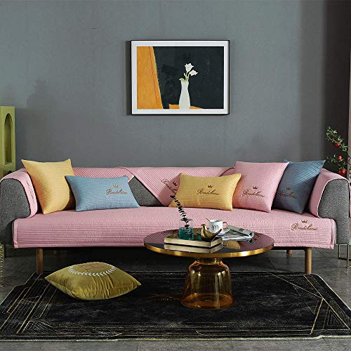 chenhe Armchair Slipcover Furniture Protector,Solid Color Thick Cotton Universal Sofa Cover for Living Room Sofa Towel Slip-resistant Sofa Slipcover-Pink_70x70cm