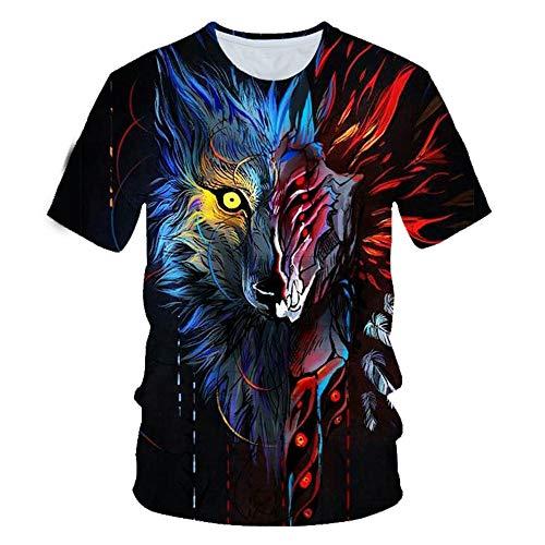 XKDZT Animal Fox Imprimer T-Shirt 3D Été Hommes À Manches Courtes Unisexe Streetwear Mode Tops-5XL