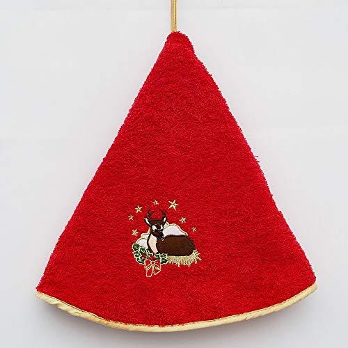 Torchon Essuie Mains Cerf de Noël - Rond avec Attache - Bordeaux - Motifs Brodés - 100% Coton - Ø 65 cm de diamètre - Cuisine ou Salle de Bain