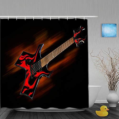 YOLIKA Cortina de Ducha,Guitarra Heavy Metal Fire,Tejido de poliéster - con Gancho,180x180