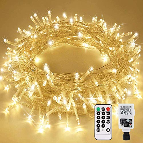 Led Fairy Light Plug in 23M 200 LED with Remote Control Timer Memory Function 8 Modes IP65 Waterproof for Inside and Outside, Low Voltage, Warm White Light for Party Christmas Garden Room