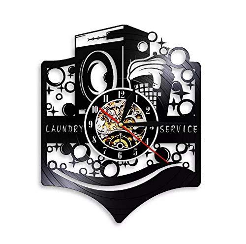 Liushenmeng Reloj de Pared de Vinilo Lavadora Cesta de lavandería Reloj Disco de Vinilo Decor Art Vinilo Reloj decoración única Hecha a Mano decoración Idea de Regalo Creativo Vinilo diámetro