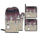 Ofenhandschuhe und Topflappen 4er-Sets,Tanz-themenorientiertes Bild der skizzenhaften Zeichnung von Ballerinas auf der Bühne,Polyester-Grillhandschuhe mit gesteppten,linerbeständigen...