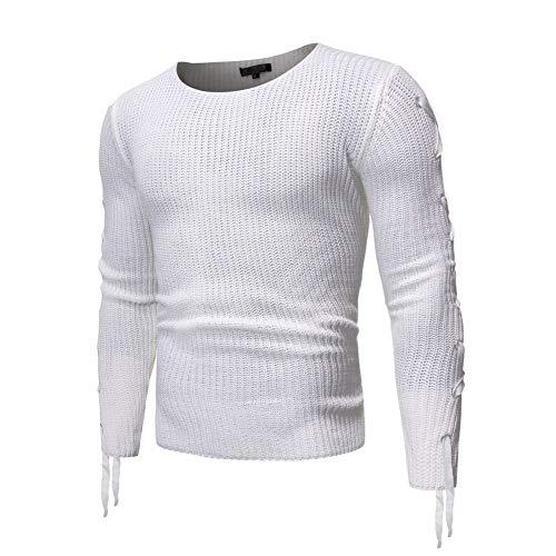 Heren Knitwears Metal Sleeve Casual Men's ronde hals trui Loose Trui Voor Koud Weer (Color : White, Size : XL)