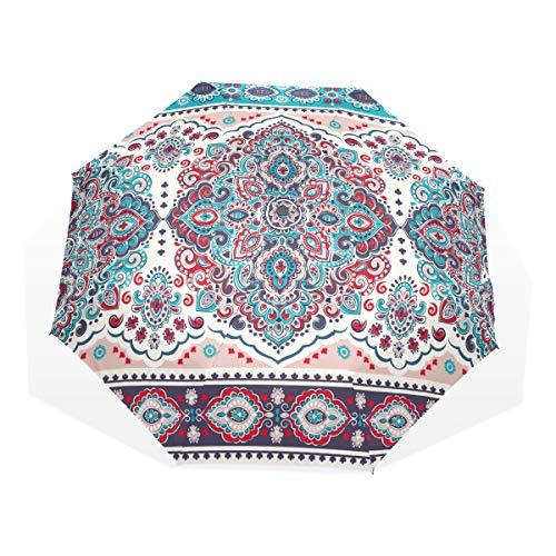 Faltbarer Sonnenschirm Indischer Blumen-Paisley-Entwurf 3 Faltbare Kunstschirme (Außendruck Herren Faltschirm Faltschirm Für Männer Wasserdichter Regenschirm Kompakt