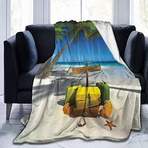 QIUTIANXIU Mantas para Sofás de Franela 150x200cm Océano Playa Vacaciones Relajación Viaje de Verano Maleta Trópico Mar Palmera Hamaca Junto al mar Manta para Cama Extra Suave