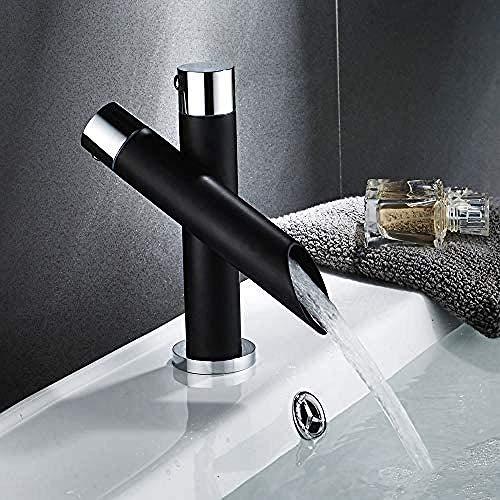 QYY Moderno y Exclusivo Grifo de Cascada Grifo de Lavabo Grifo Monomando de Lavabo Negro Monomando Comercial con Accesorios británicos Grifo de Cocina de baño