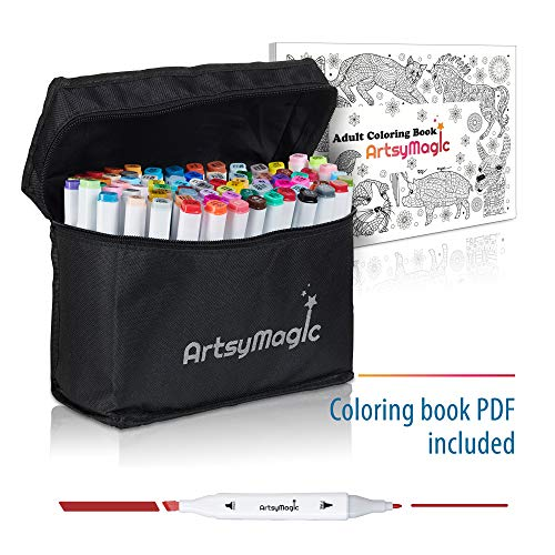 Artsy Magic 80 Colors Dual Tip Alcohol Based Permanent Art Markers - Fine and Chisel Point - Highlighter Marker Pens Set - Bonus Case and Adult Coloring Book - Ideal for Drawing Sketching Graffiti