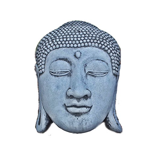 Steinfigur Buddha Kopf Wandbild hängen Büste Steinguss Gartenfigur