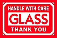 Tape Logic DL1062 Shipping and Handling Label Legend HANDLE WITH CARE - GLASS - THANK YOU 3 Length x 2 Width White on Red (Roll of 500) [並行輸入品]
