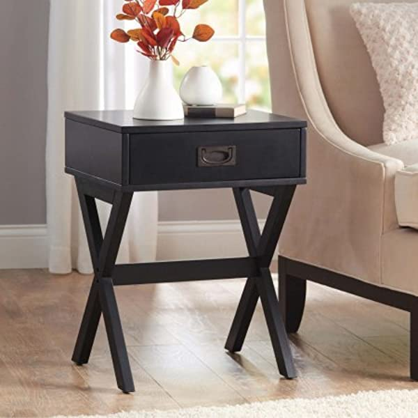 Modern Stylish X Leg One Drawer Accent Side Table Or Nightstand 24 In 61cm High Black