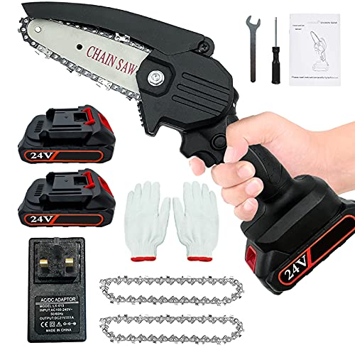 Mini Chainsaw with 2 Batteries and 2 Chains 4-Inch Cordless Chainsaws...