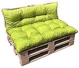 VALOREITALIA Cuscino per BANCALE Unito Seduta + Schienale 80X120 + 40X120 Misure EUR EPAL Pallet (Verde Chiaro)