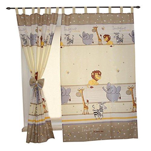 TupTam Kinderzimmer Vorhäng mit Schleifen 2er Set, Farbe: Imagine Beige, Größe: ca. 155x95 cm
