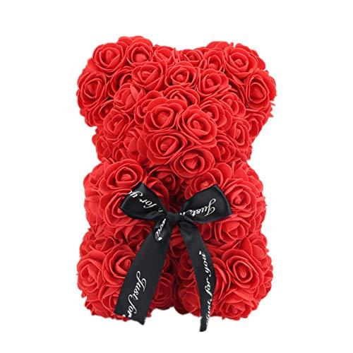 Demiawaking Orso Rose 25 CM Fiori Artificiali Orsetto di Rose Orso Rose Finte in Schiuma Bambola Regalo per Compleanno San Valentin Anniversario con Stick di Colla (Rosso)