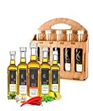 Organic Herbs Infused Greek Extra Virgin Olive Oil, 5 flavors - Basil, Lemon, Garlic, Red Pepper, Oregano in French Glass Bottles, Finishing Oil, Perfect Wooden Gift Set, 50 ml (1.69 oz) each