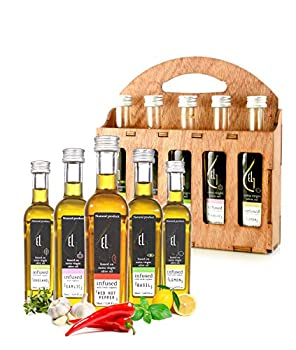 Organic Herbs Infused Greek Extra Virgin Olive Oil 5 flavors - Basil Lemon Garlic Red Pepper Oregano in French Glass Bottles Finishing Oil Perfect Wooden Gift Set 50 ml  1.69 oz  each