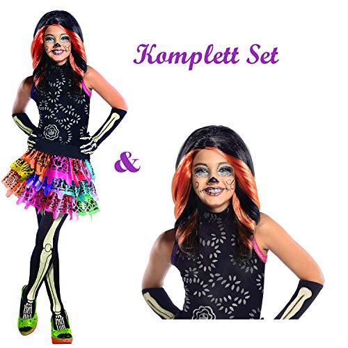 Savahe Monster High Skelita Calaveras Kostüm & Perücke Komplett Set / Halloween & Karneval Mädchen Party (140/146)