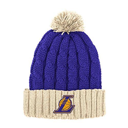 NBA Los Angeles Lakers Men's X-Mas Cuffed Knit Pom, One Size, Purple/Cream