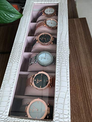 Yunan Watch Box Large 6 Men Women Crocodile Grain Leather Display Glass Top Jewelry Case Organizer Storage (White 6 slots)