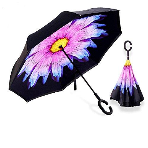 Aogolouk doppio strato invertito ombrello con manico a forma di C, antivento Reverse ombrello pieghevole anti-UV, da viaggio, auto stand, Mani libere (Fiore viola)