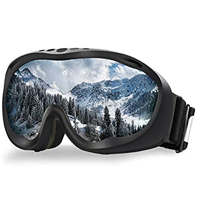ALKAI Ski Goggles, Snowboard Goggles, Anti-Fog 100% UV Protection, Double-Layer Spherical Lenses, Helmet Compatible Medium Fit Snow Goggles for Men & Women