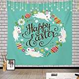 Batmerry Happy Colorful Flowers Tapestry, Happy Easter Greeting Card with Colorful Wreath Picnic Mat Hippie Trippy Tapestry Wall Art Decor for Bedroom Living Room, 59.1 x 59.1 Inches, Turquoise
