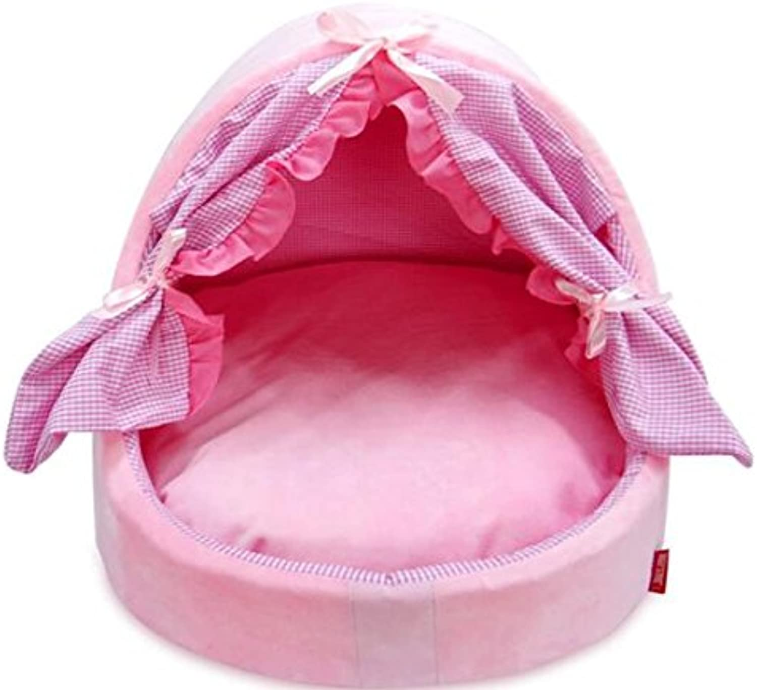Cat Warmer Mat Princess Fan Japanese Style Bow Tie Kennel Pets Nest Pink