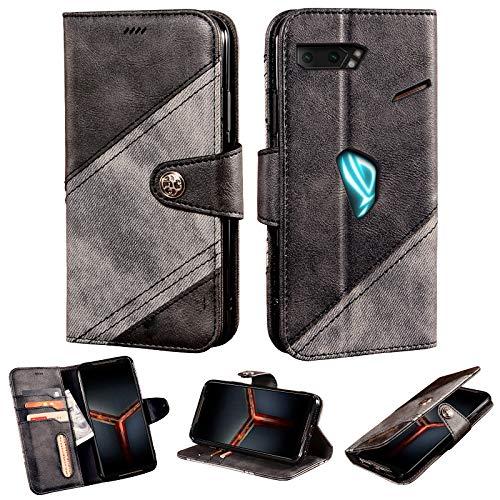 BELLA BEAR Hülle für Asus Rog Phone 2 Kombination aus Leder & Stoff Fashional Retro Schnalle Brieftasche Fall Bracket-Funktion Flip Hülle Kompatibel mit Asus Rog Phone 2(Schwarz)
