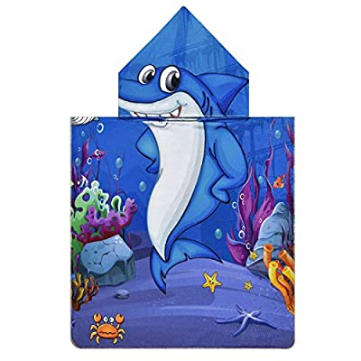 Pknoclan Blue Shark Theme Kids Hooded Beach Towel, Cartoon Ocean Theme Poncho Robes Hooded Pool Towels for Toddlers, Super Soft and Absorbent Baby Swim Towel for Kids