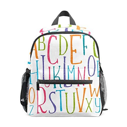 Mochila infantil para niños de 1 a 6 años de edad, mochila perfecta para niños y niñas con alfabeto escrito a mano ABCD