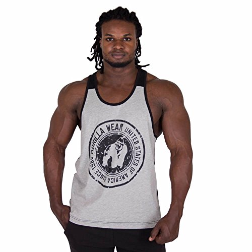 Gorilla Wear Roswell Tank Top - grau / schwarz - Bodybuilding und Fitness Kleidung für Herren, 5XL