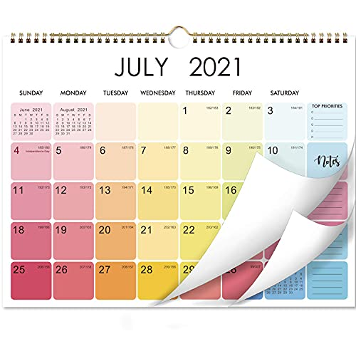 2021-2022 Calendar - Monthly Wall Calendar 2021 with Thick Paper 15' x 11.5' Jan 2021 - Dec 2021 Twin-Wire Binding Blank Blocks with Julian Dates Hanging Loop Perfect for Organizing