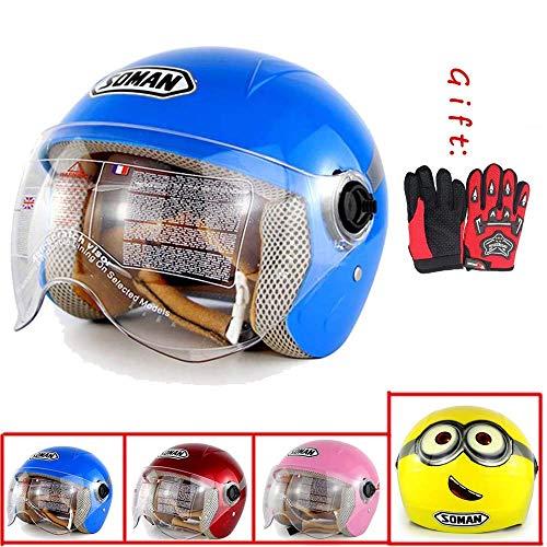 Motorrad-Sturzhelm for Kinder, Fahrradhelm, Kind Motorradhelm Mode, Rennen, Fahrrad, Scooter, 6~11 Jahre alt, Geschenk-Handschuhe, Jungen und Mädchen, 4 xtrxtrdsf (Color : 1)