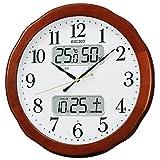 セイコー クロック 掛け時計 電波 アナログ カレンダー 温度 湿度 表示 木枠 茶 木地 KX369B SEIKO