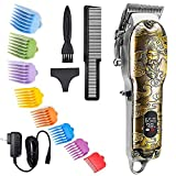 Hair Clippers for Men, Suttik Professional Barber Clippers Cordless Clippers for Hair Cutting Ornate Mens Haircut Grooming Kit Beard Trimmer with LED Disply, Gold Knight Trimmer, Wireless