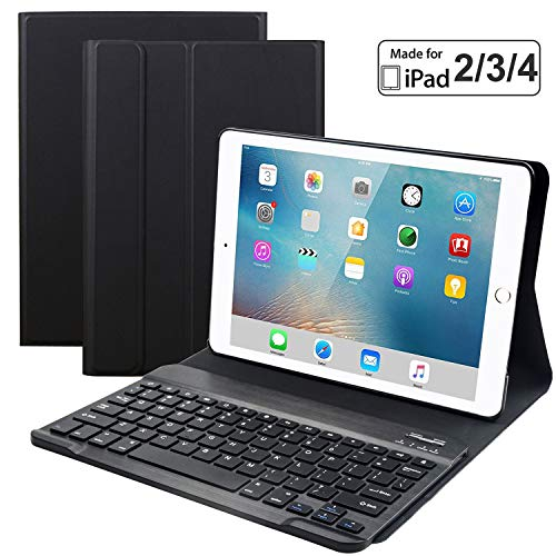 Eoso Keyboard Case for iPad 2/3/4 Built-in Wireless Slim Shell Magnetic PU Protective Cover for Men Women (Black)