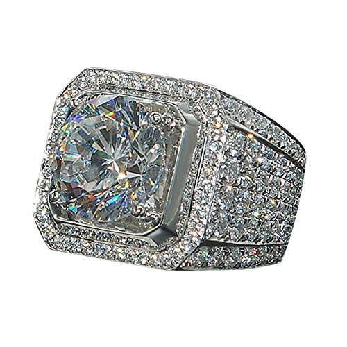 Wensltd Clearance! Luxury Sapphire Diamond Engagement Band Charming Crystal Rings for Womens & Mens (11, Silver)