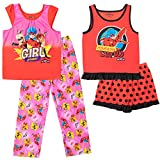 Miraculous Cat Noir Ladybug Rena Rouge Little Girls Ruffled 4 Piece Pajama Set Red 6X